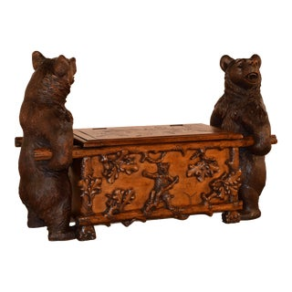19th Century Black Forest Carved Unusual Bear Bench For Sale