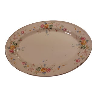 "Mid-Century Classic Edwin Knowles ""Springtime Hostess"" Rose Floral China Platter For Sale"