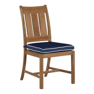 Summer Classics Croquet Teak Side Chair in Arbor Navy with Linen Snow Welt For Sale