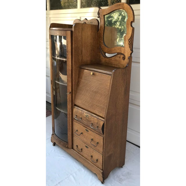 Vintage Wooden Vanity With Storage and Secretary Desk For Sale - Image 11 of 13