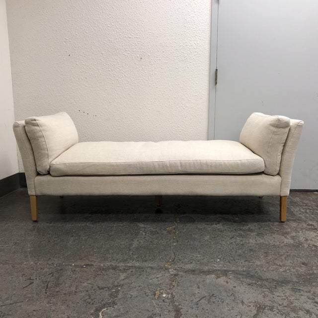 Tan Mid-Century Modern Restoration Hardware Sorensen White Linen Upholstered Bench For Sale - Image 8 of 8