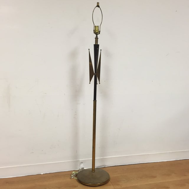 Atomic Brass & Black Floor Lamp - Image 2 of 8