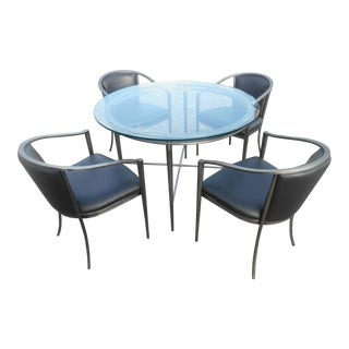 1970s Modern Design Institute America Nickel Dining Set - 5 Pieces For Sale