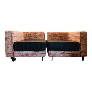 1960s Mid-Century Modern Brick Red Velvet Loveseat For Sale