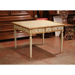 Early 20th Century Italian Neoclassical Painted Square Game Table With Drawers Preview