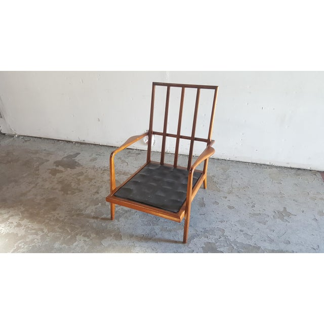 Solid Walnut Lounge Chair & Ottoman - Image 8 of 11