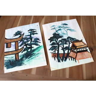 Vintage Chinoiserie Watercolor Pagoda Paintings, Signed - Pair Preview