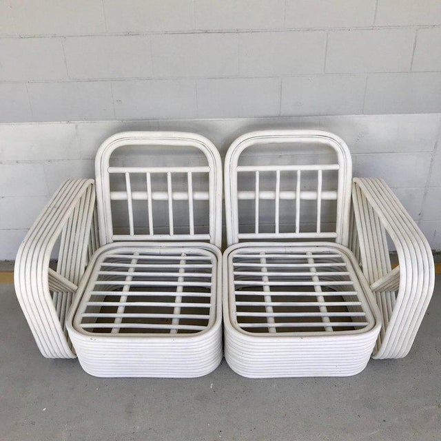 Two Rattan Sofa Frames by Paul Frankl, in Dove White For Sale - Image 9 of 13