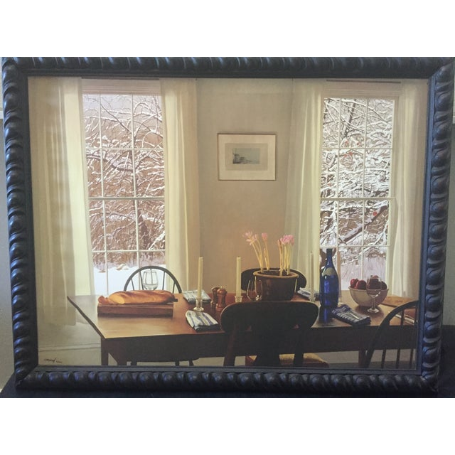 """Photorealism William B. Hoyt """"Winter Dinner"""" Giclee Print For Sale - Image 3 of 5"""