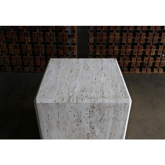Travertine Cube Side Table, Circa 1980 For Sale In Los Angeles - Image 6 of 9