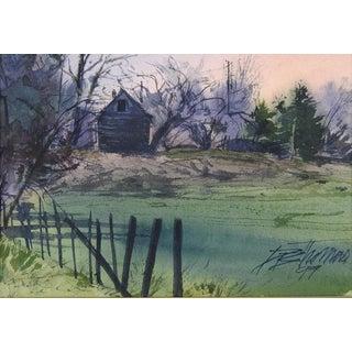 Rustic Farmhouse Sunrise Watercolor For Sale