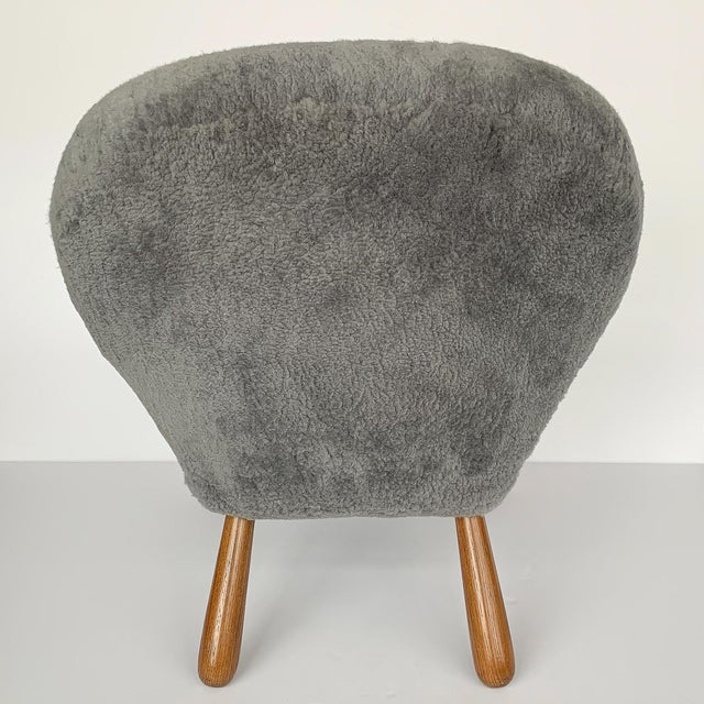Gray Philip Arctander for Paustian Gray Sheepskin Upholstered Lounge Chairs - a Pair For Sale - Image 8 of 13