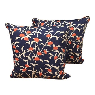Contemporary Navy and Salmon Patterned Pillows - a Pair For Sale