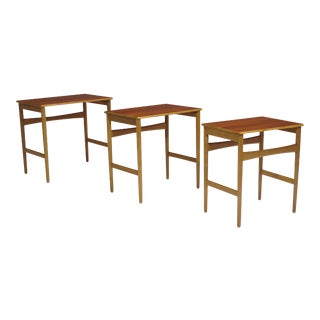 Hans Wegner Teak and Oak Danish Nesting Side Tables - Set of 3 For Sale