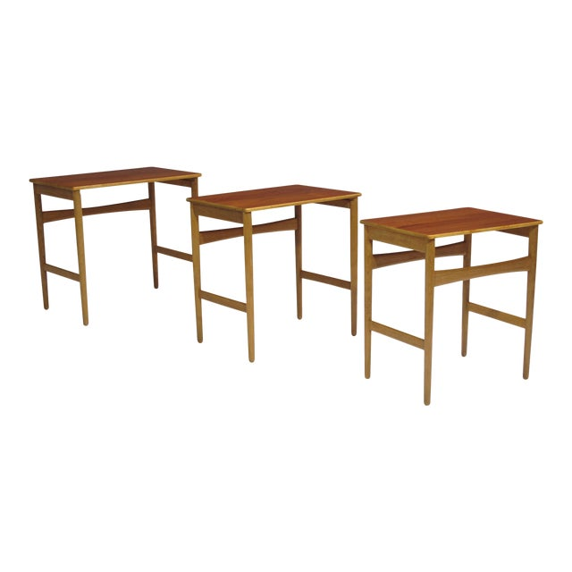 Hans Wegner Teak and Oak Danish Nesting Side Tables - Set of 3 For Sale