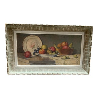 1950s French Still Life Painting With Fruit H. Lerand For Sale