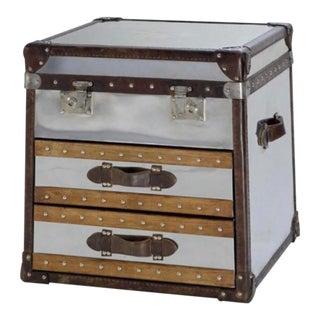 Vintage Andrew Martin Mirrored Trunk For Sale