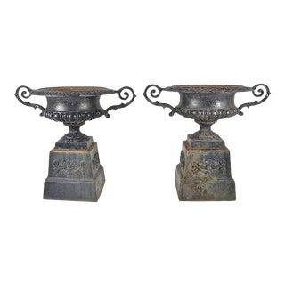 Vintage Cast Iron Urns - A Pair