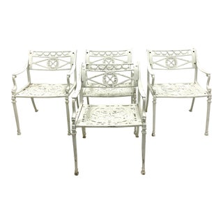 Set of 4 Cast Aluminum Garden Chairs With Dolphins For Sale