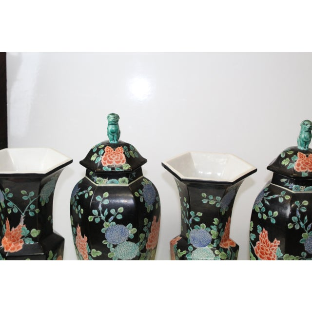 Chinese Chinese Garniture Black Vases - 5 Pieces For Sale - Image 3 of 9