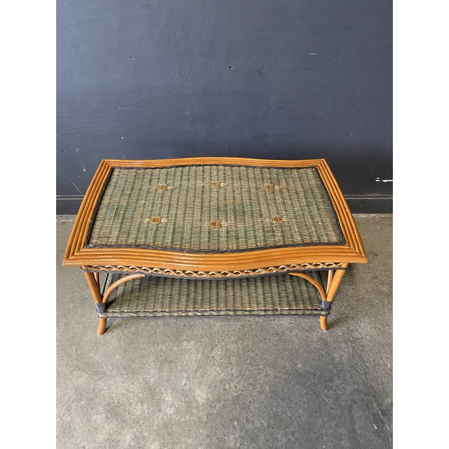 Vintage French Grange Wicker Sofa and Coffee Table For Sale - Image 11 of 13