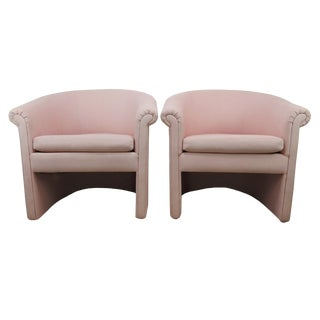 1960s Milo Baughman Style Muted Rose Pink Barrel Back Tub Chairs - a Pair For Sale