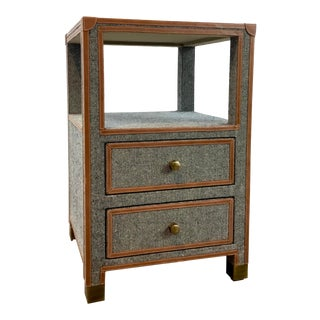 Made Goods Modern Tweed and Leather Leland Nightstand For Sale
