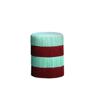 Turqueoise & Garnet Chachachá Pouf in Velvet by Houtique & Masquespacio For Sale
