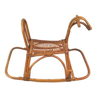 Vintage Bamboo and Cane Rocking Horse For Sale