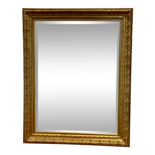 Baroque Distressed Gilt Wood Rectangular Mirror 38x48 For Sale