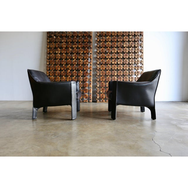 Mid-Century Modern Mid-Century Modern Mario Bellini Black Leather Lounge Chairs - a Pair For Sale - Image 3 of 11