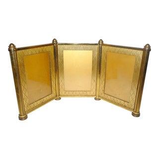 1940s Vintage Swedish Brass Tri Fold Picture Frame For Sale