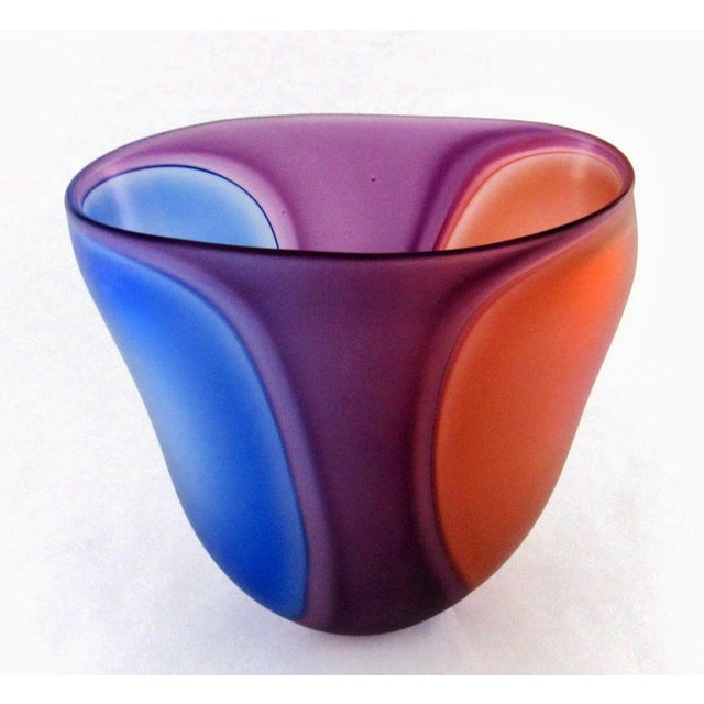 Beautiful Samphire Frosted Glass Vase - Cobalt, Wine, and Red For Sale - Image 4 of 11