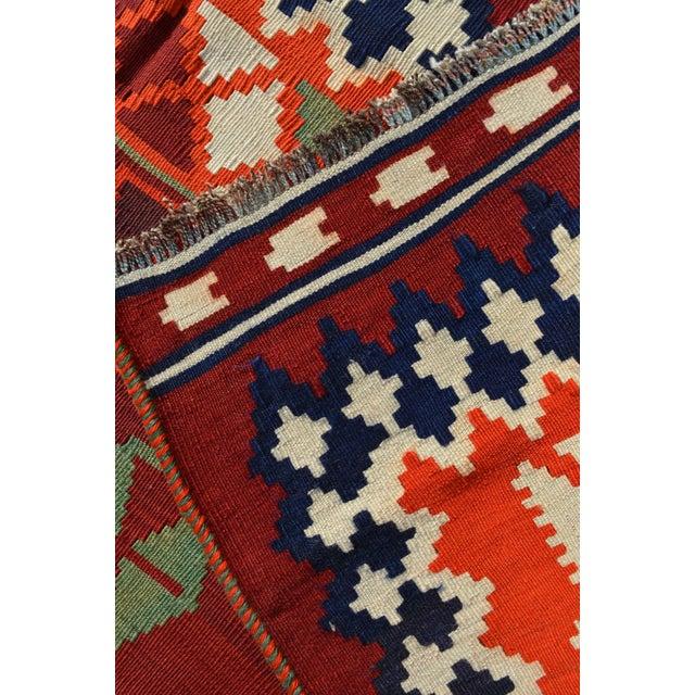 Persian Handwoven Shirazi Red & Orange Kilim Wool Rug - 5′3″ × 8′3″ For Sale - Image 5 of 6