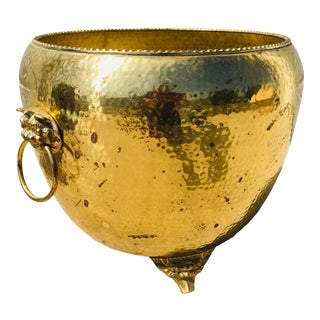 1990s Asian Hand Hammered Brass Vessel For Sale
