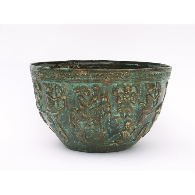 Decorative Indonesian Bronze Bowl For Sale - Image 4 of 6