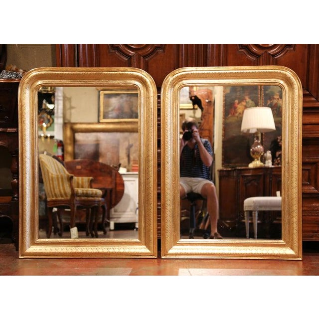 Pair of Midcentury French Louis Philippe Giltwood Mirrors With Engraved X Decor For Sale In Dallas - Image 6 of 6