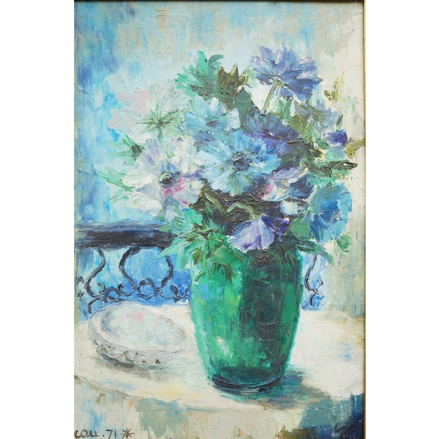 1970s Vintage Floral Signed Still Life Oil Painting For Sale - Image 5 of 12