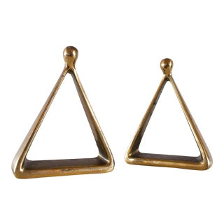 1950's Ben Seibel for Jenfredware Triangular Brass Bookends - a Pair For Sale