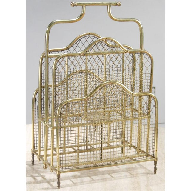 Hollywood Regency Victorian Brass Magazine Stand For Sale - Image 3 of 6