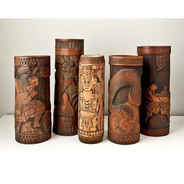 Bamboo Antique Bamboo Vase, Japanese Brush Holder, Carved Wood Vase, Samurai Warrior For Sale - Image 7 of 8