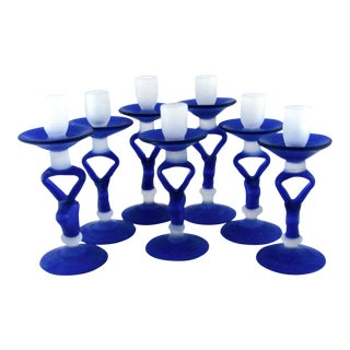 1990s Hand Blown Cobalt and Clear Satin Glass Candlestick Holders - Set of 7 For Sale