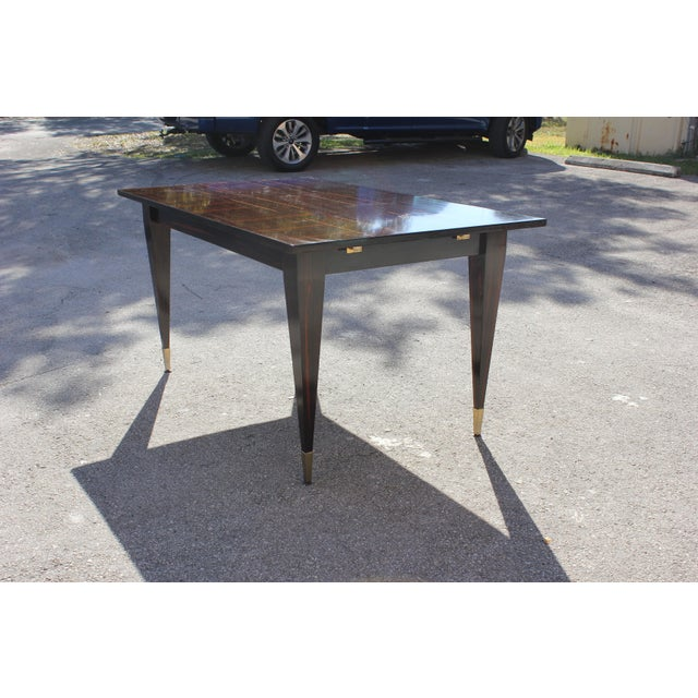1940s Art Deco Exotic Macassar Ebony Writing Desk / Dining Table For Sale - Image 10 of 13