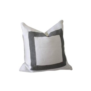 Contemporary Full Bloom Custom-Made Stone Washed Linen Pillow For Sale