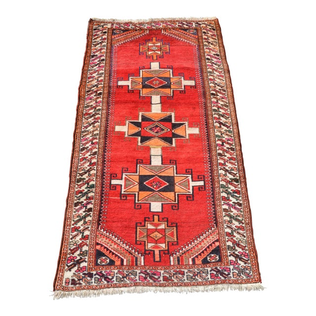 """Vintage Hand Knotted Persian Kazak Area Rug - 3' 11"""" X 7' 6"""" For Sale"""
