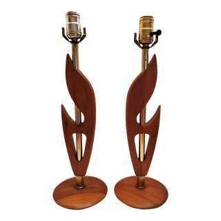 1960s Mid-Century Modern Teak Carved Table Lamps - Set of 2 For Sale