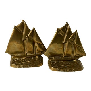 Vintage Solid Brass Blue Nose Sailboat Bookends - a Pair For Sale
