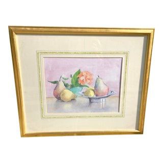 Still Life Watercolor of Fruit For Sale