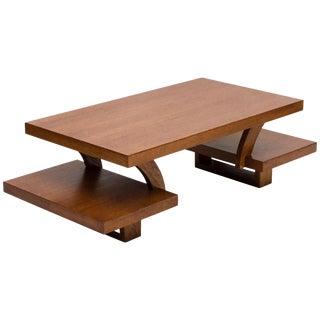Midcentury Oak Bi-Level Coffee Table, Paul Laszlo Style For Sale