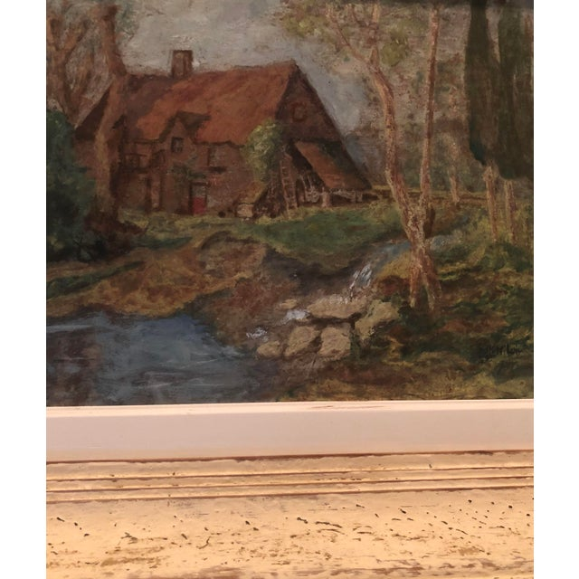 Vintage French Oil Painting Landscape Thatched Roof Cottage For Sale - Image 4 of 7